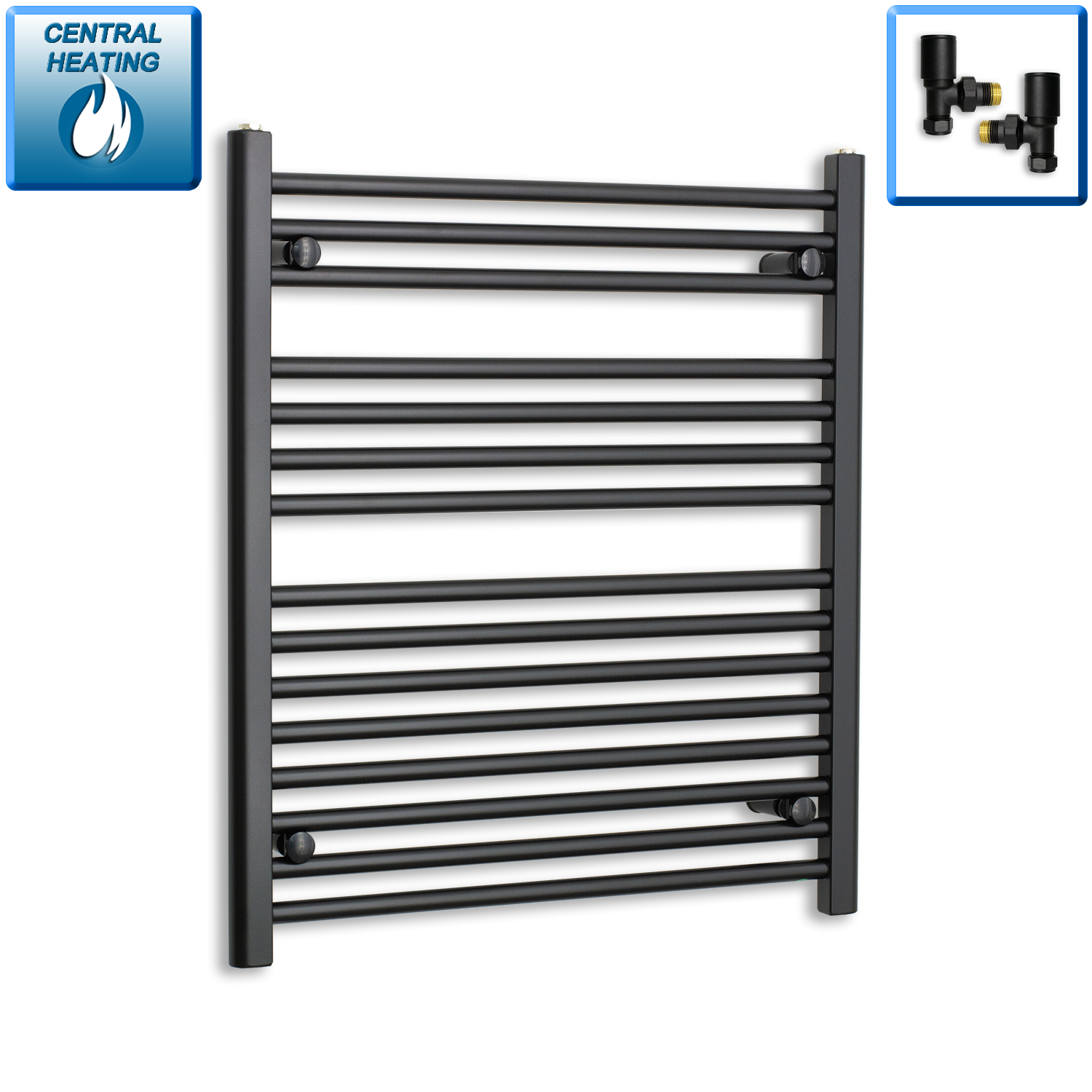 700mm Wide 800mm High Black Towel Rail Radiator With Angled Valve
