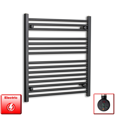 700mm Wide 800mm High Pre-Filled Black Electric Towel Rail Radiator With Thermostatic eco digi Element