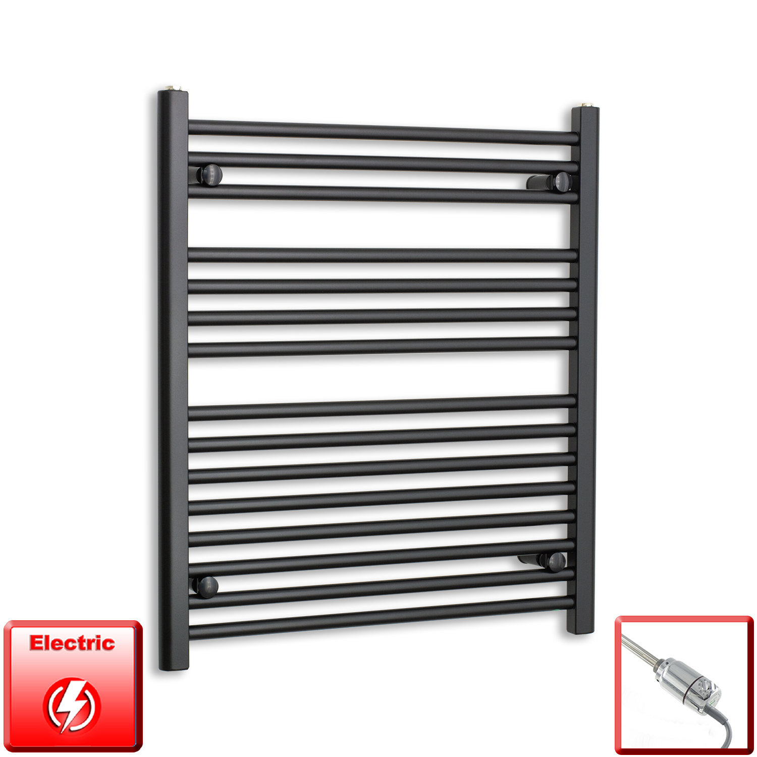 700mm Wide 800mm High Pre-Filled Black Electric Towel Rail Radiator With Thermostatic GT Element