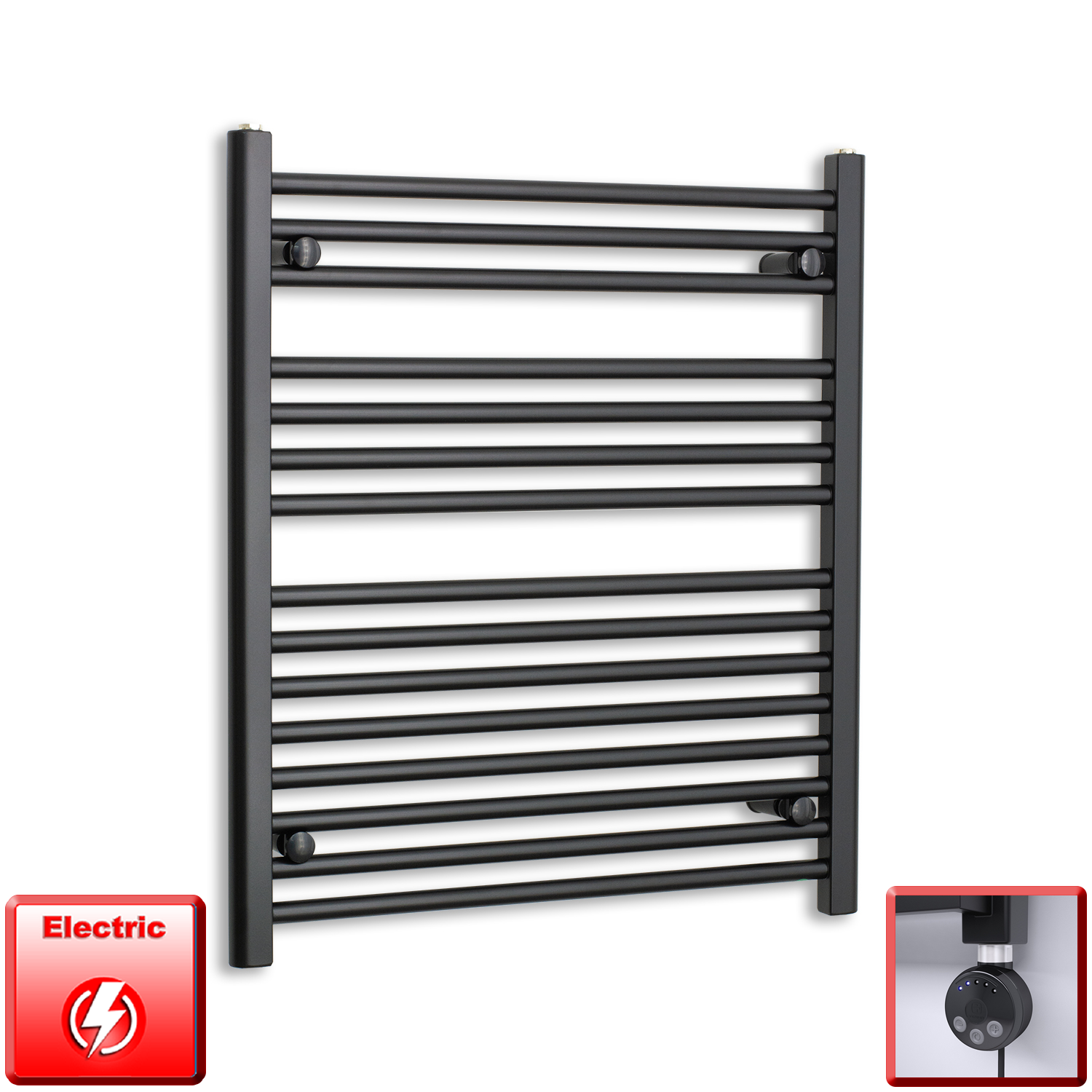 700mm Wide 800mm High Pre-Filled Black Electric Towel Rail Radiator With Thermostatic MEG Element