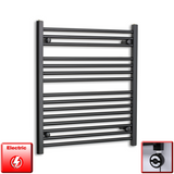 700mm Wide 800mm High Pre-Filled Black Electric Towel Rail Radiator With Thermostatic MOA Element