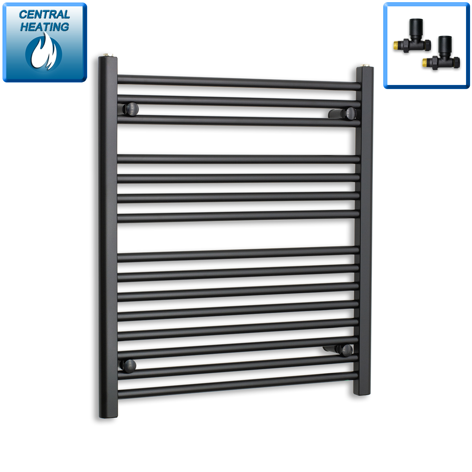 700mm Wide 800mm High Black Towel Rail Radiator With Straight Valve