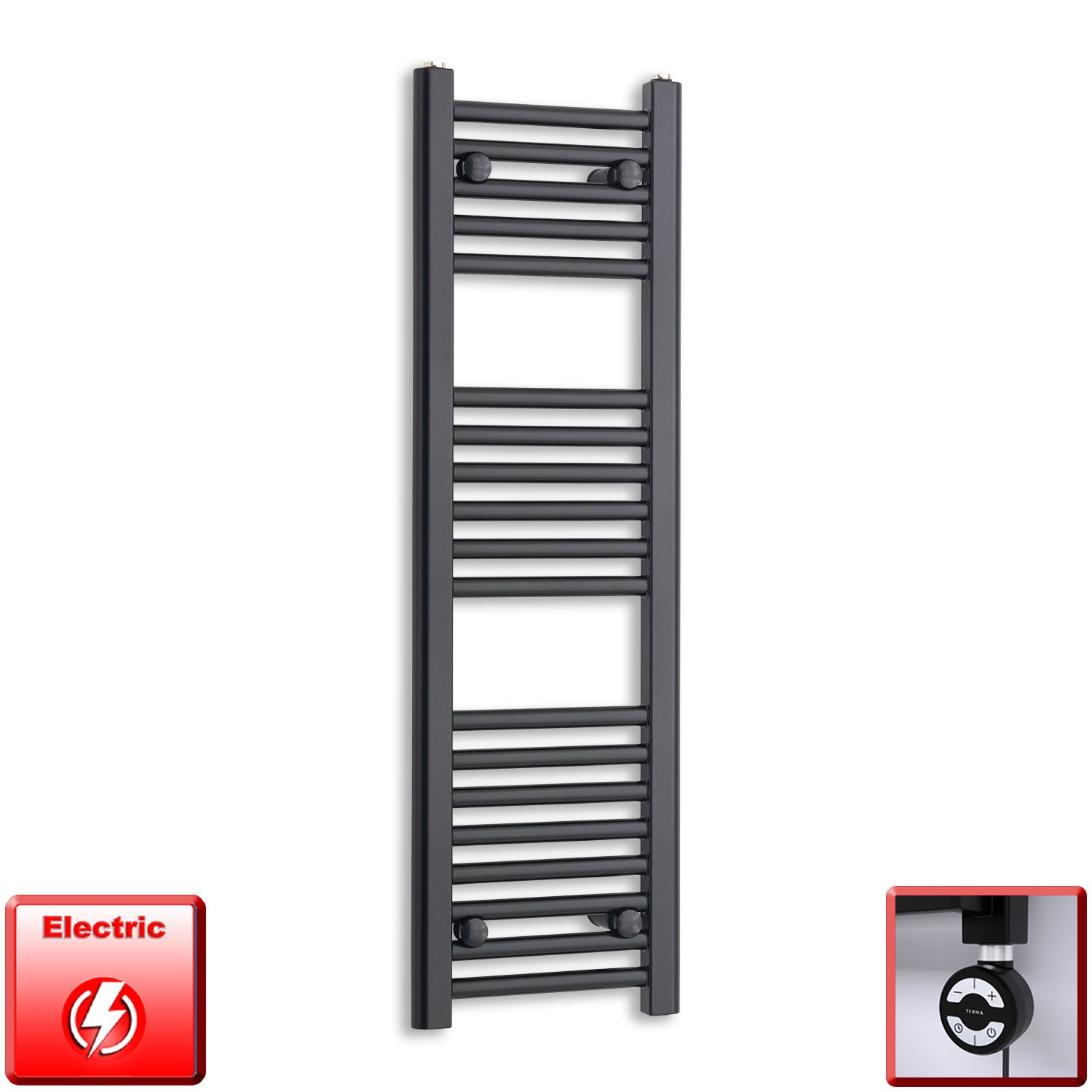 300mm Wide 800mm High Pre-Filled Black Electric Towel Rail Radiator With Thermostatic MOA Element