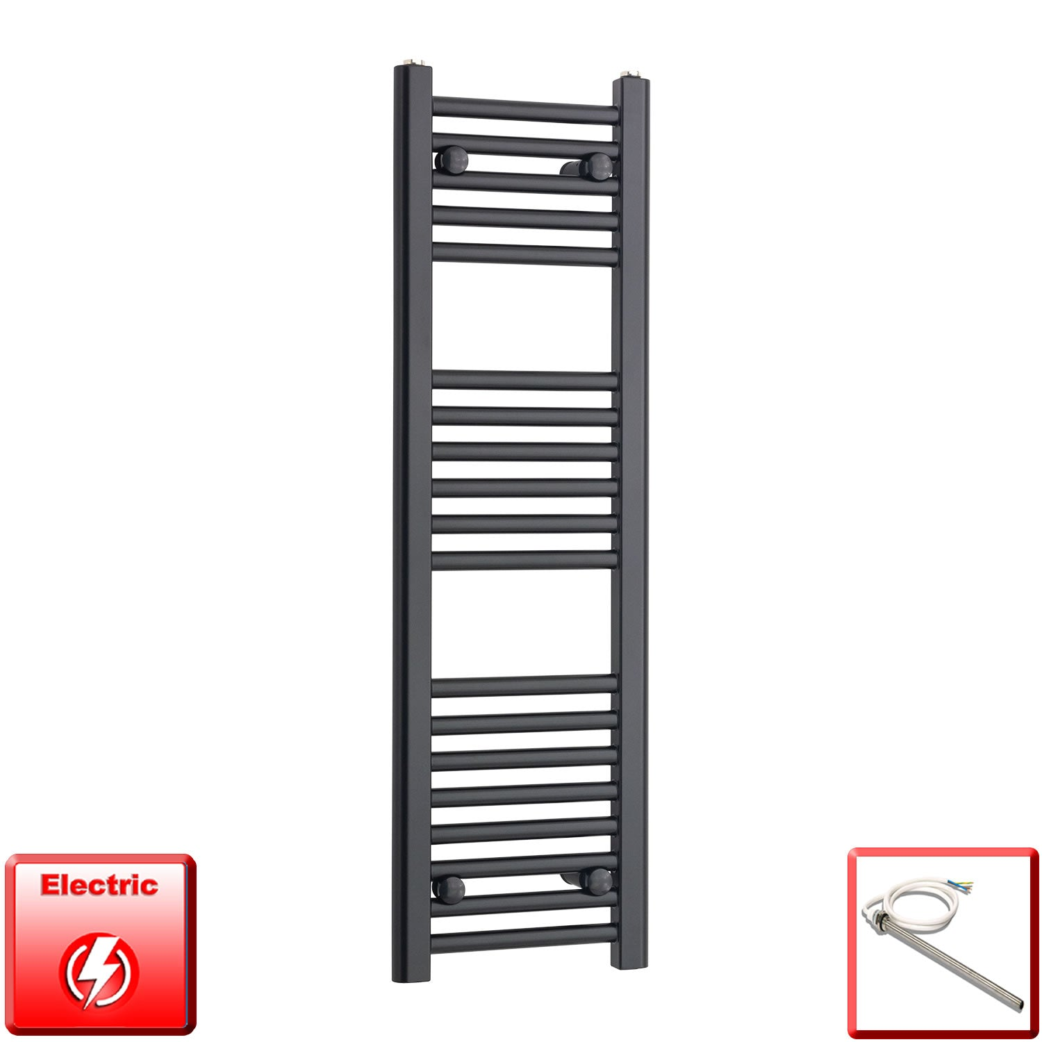 300mm Wide 1000mm High Pre-Filled Black Electric Towel Rail Radiator With Single Heat Element