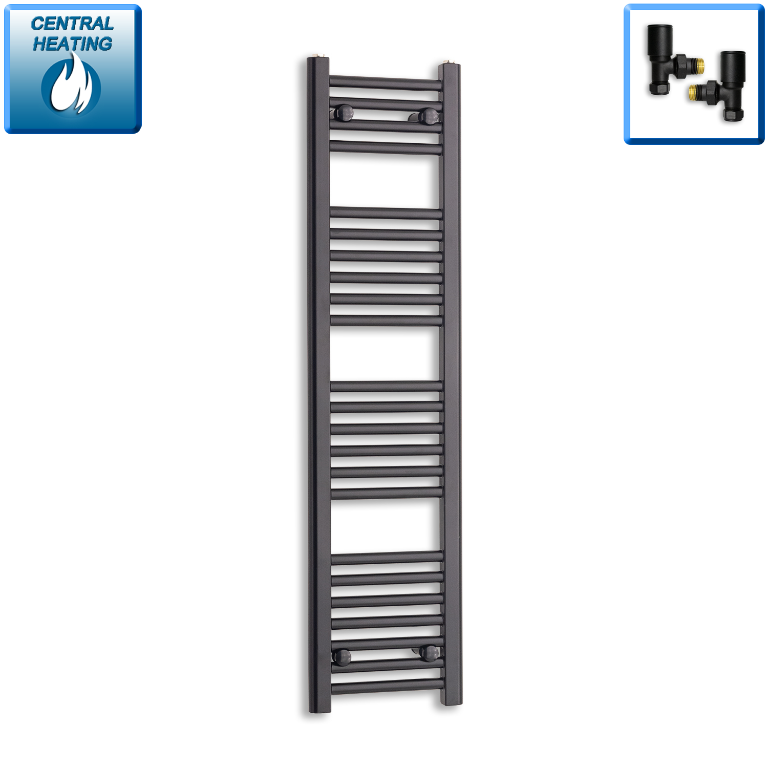 300mm Wide 1200mm High Black Towel Rail Radiator With Angled Valve