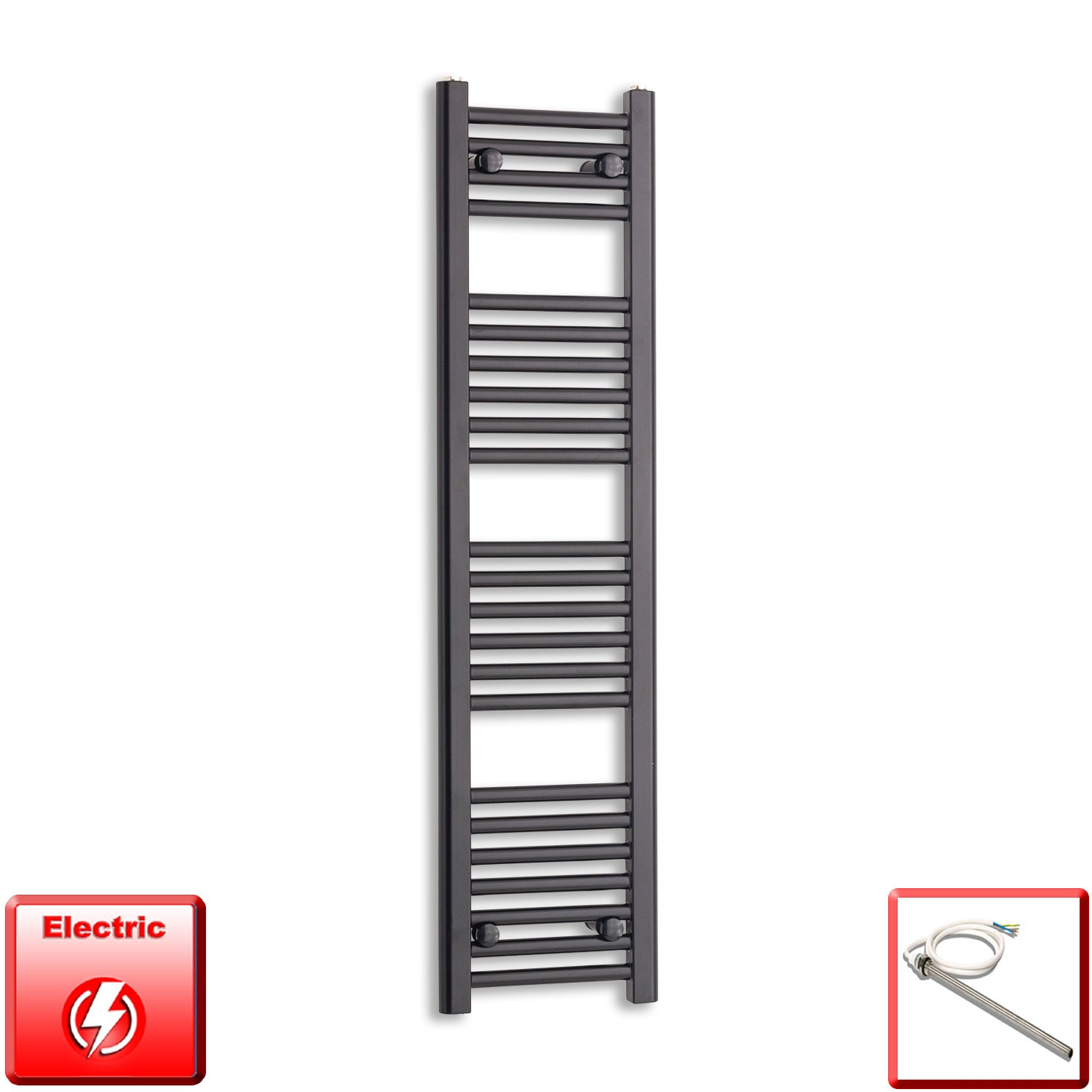 300mm Wide 1200mm High Pre-Filled Black Electric Towel Rail Radiator With Single Heat Element
