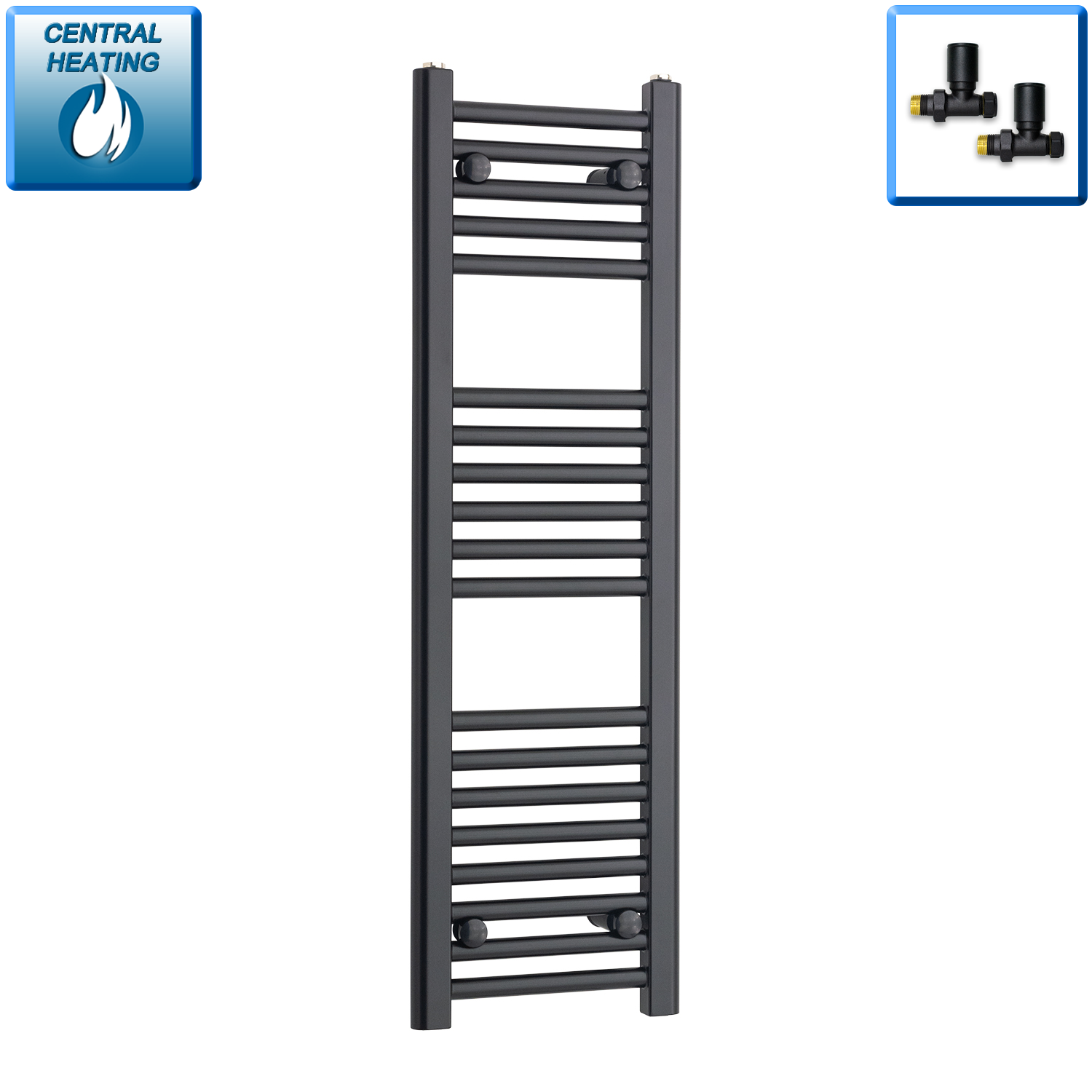 300mm Wide 1000mm High Black Towel Rail Radiator With Straight Valve