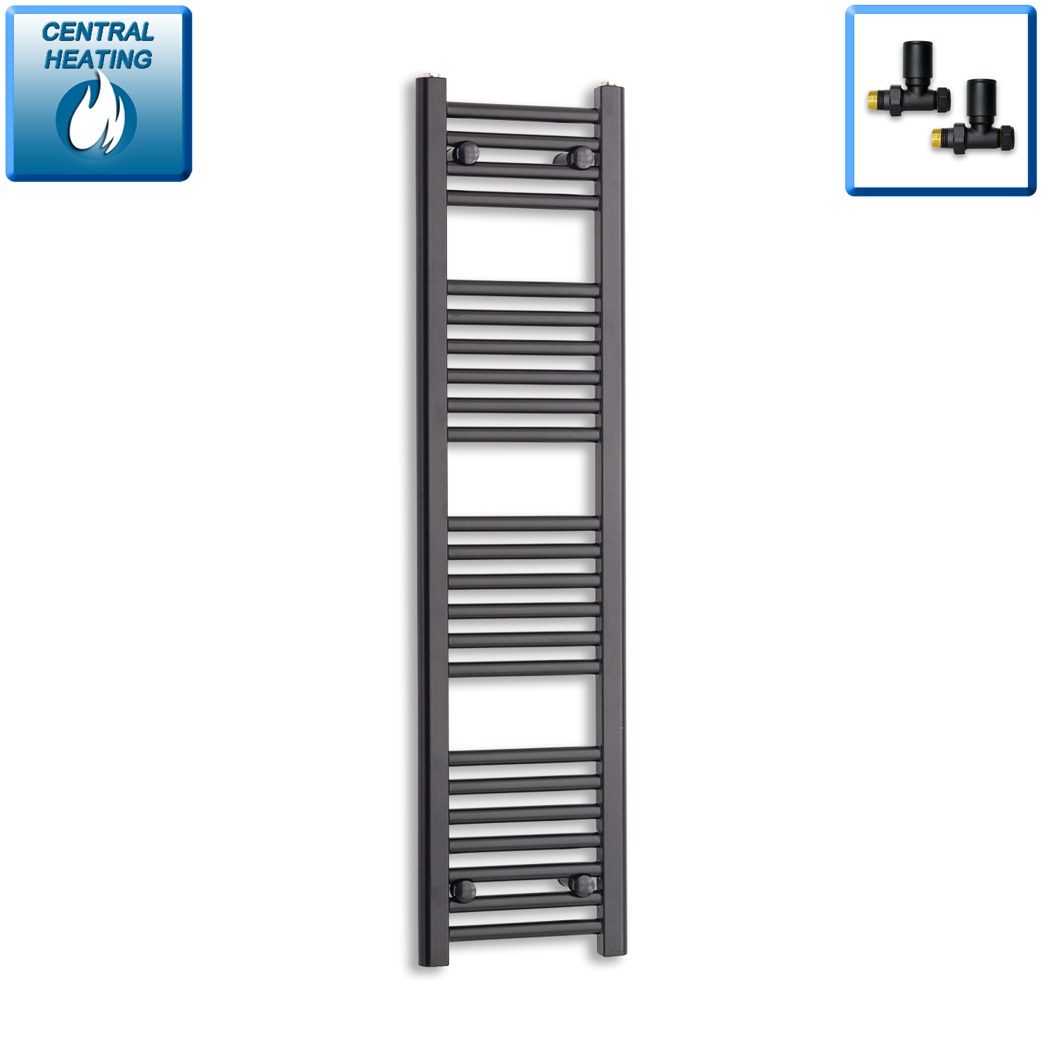 300mm Wide 1200mm High Black Towel Rail Radiator With Straight Valve