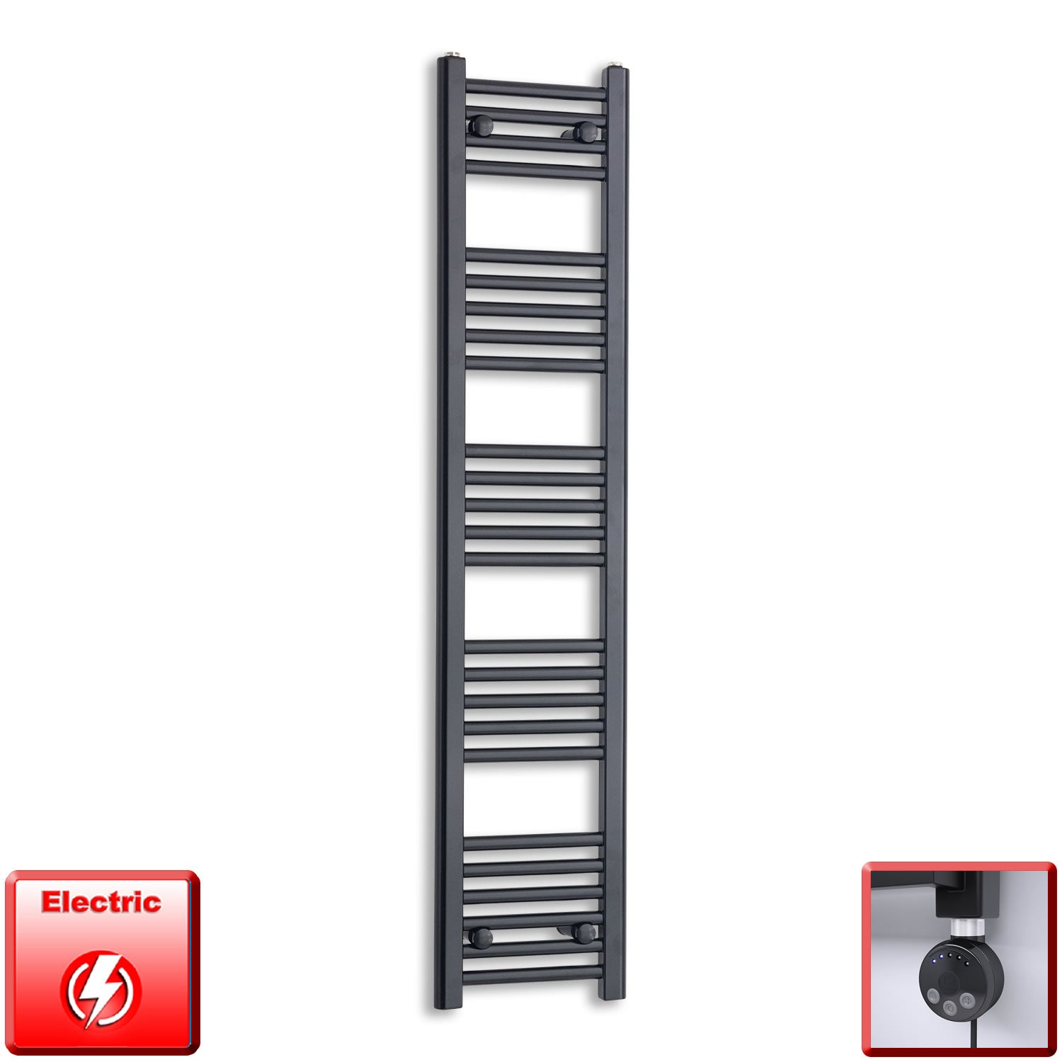 300mm Wide 1400mm High Pre-Filled Black Electric Towel Rail Radiator With Thermostatic MEG Element