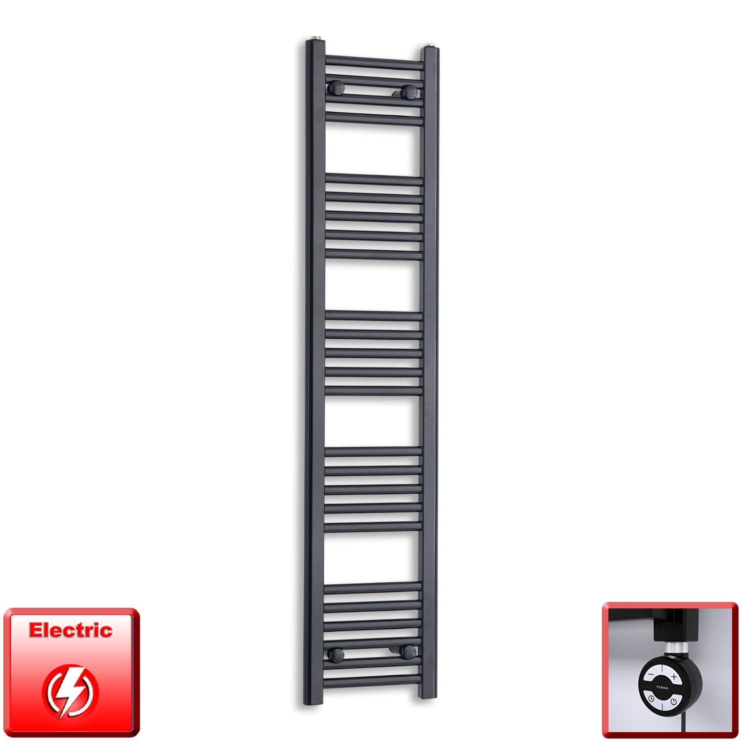 300mm Wide 1400mm High Pre-Filled Black Electric Towel Rail Radiator With Thermostatic MOA Element