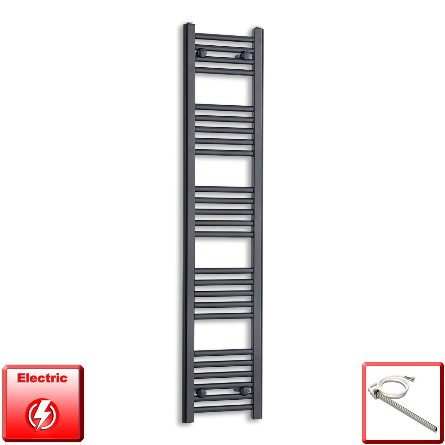 300mm Wide 1400mm High Pre-Filled Black Electric Towel Rail Radiator With Single Heat Element