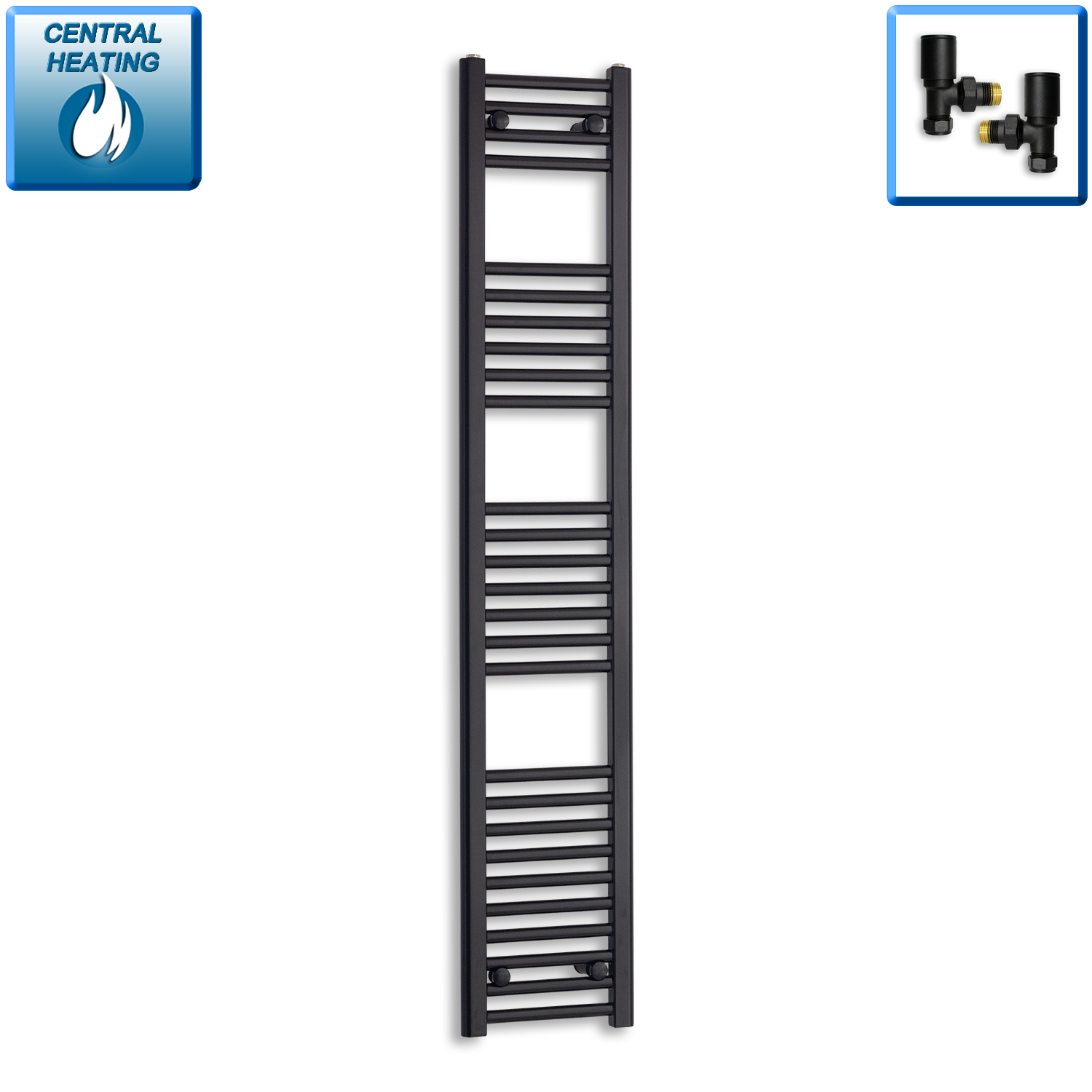 300mm Wide 1600mm High Black Towel Rail Radiator With Angled Valve