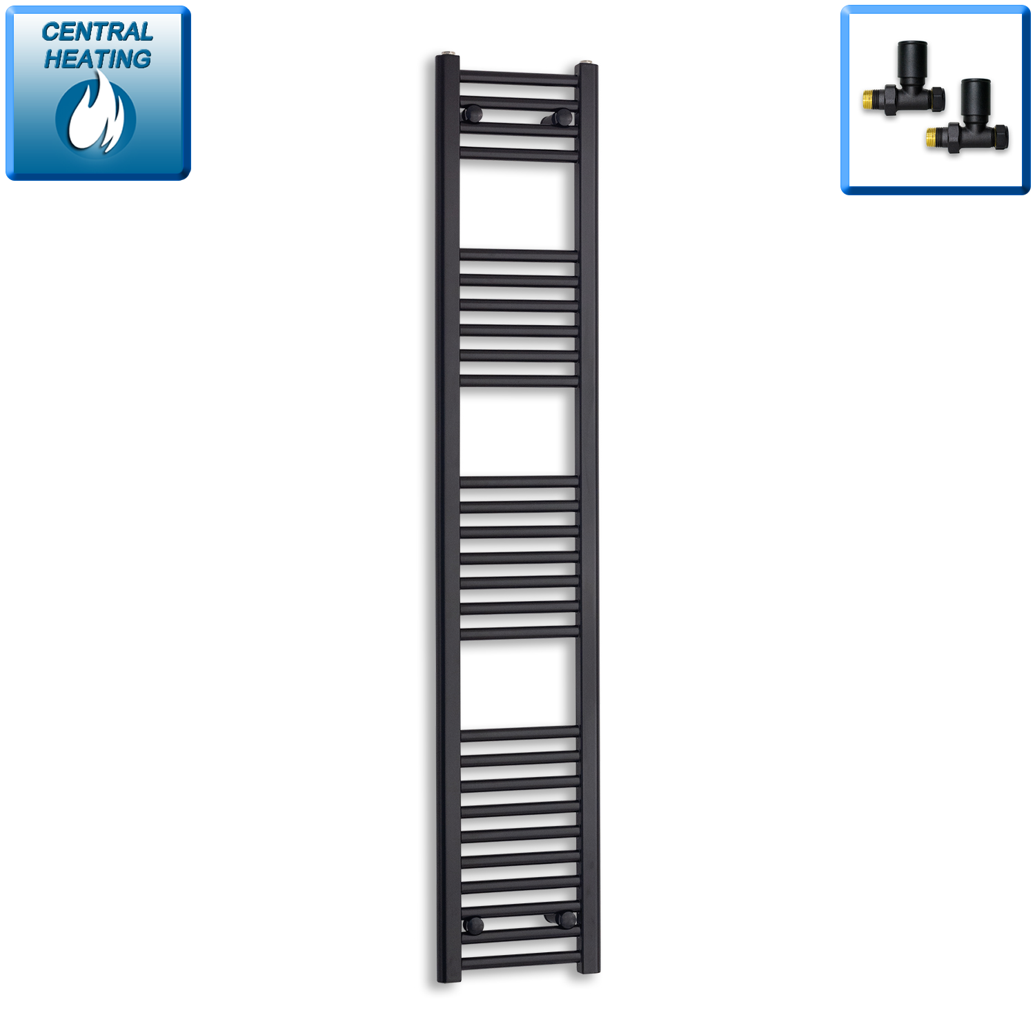 300mm Wide 1600mm High Black Towel Rail Radiator With Straight Valve