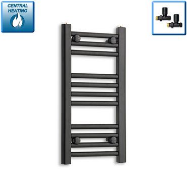 300mm Wide 600mm High Black Towel Rail Radiator With Straight Valve