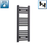 300mm Wide 800mm High Black Towel Rail Radiator With Angled Valve