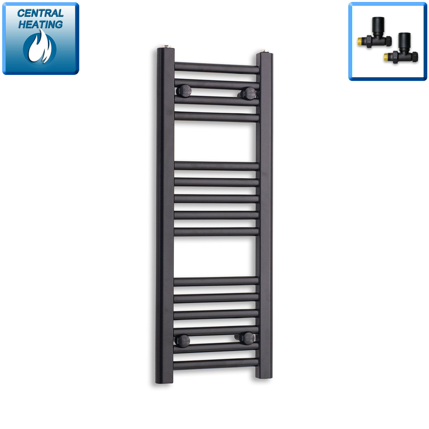 300mm Wide 800mm High Black Towel Rail Radiator With Straight Valve
