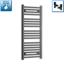 Load image into Gallery viewer, 400mm Wide 1000mm High Black Towel Rail Radiator With Angled Valve