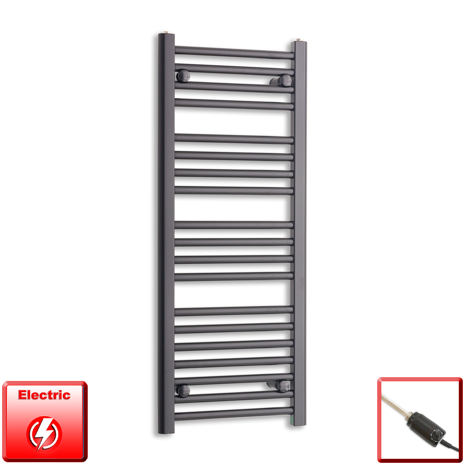 450mm Wide 1000mm High Pre-Filled Black Electric Towel Rail Radiator With Thermostatic GT Element