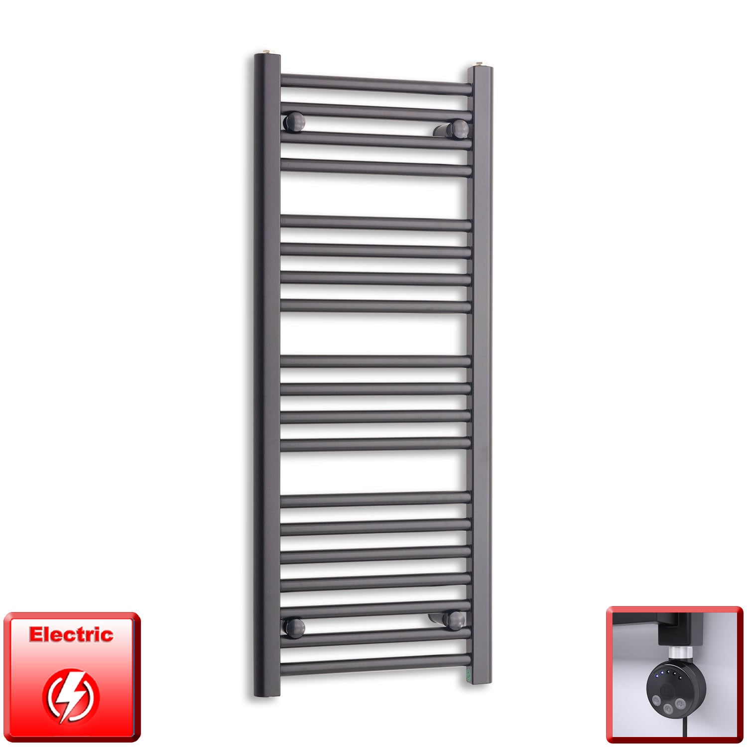 400mm Wide 1000mm High Pre-Filled Black Electric Towel Rail Radiator With Thermostatic MEG Element