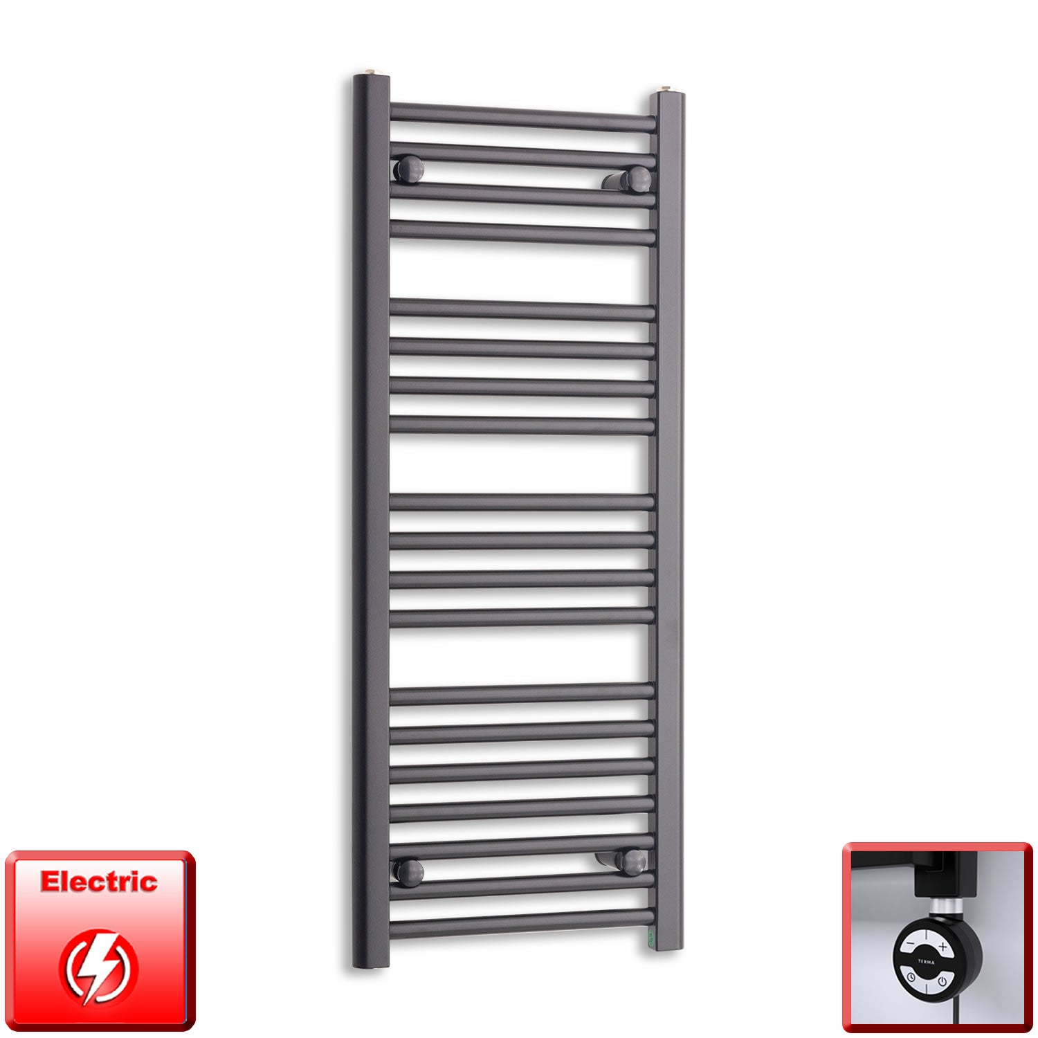 400mm Wide 1000mm High Pre-Filled Black Electric Towel Rail Radiator With Thermostatic MOA Element