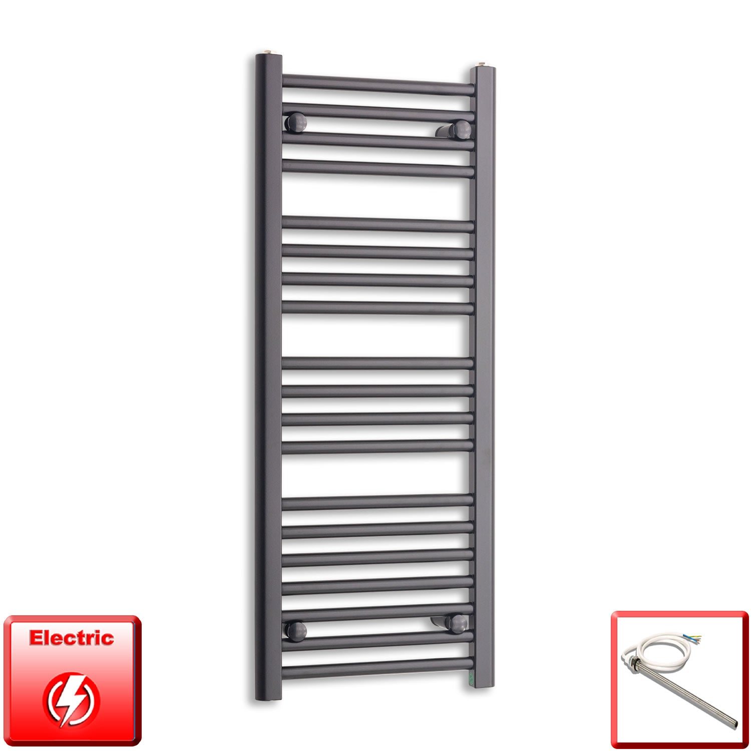 400mm Wide 1000mm High Pre-Filled Black Electric Towel Rail Radiator With Single Heat Element