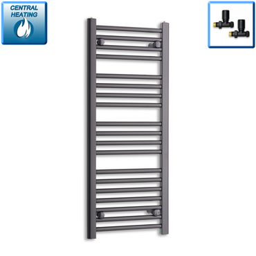 400mm Wide 1000mm High Black Towel Rail Radiator With Straight Valve