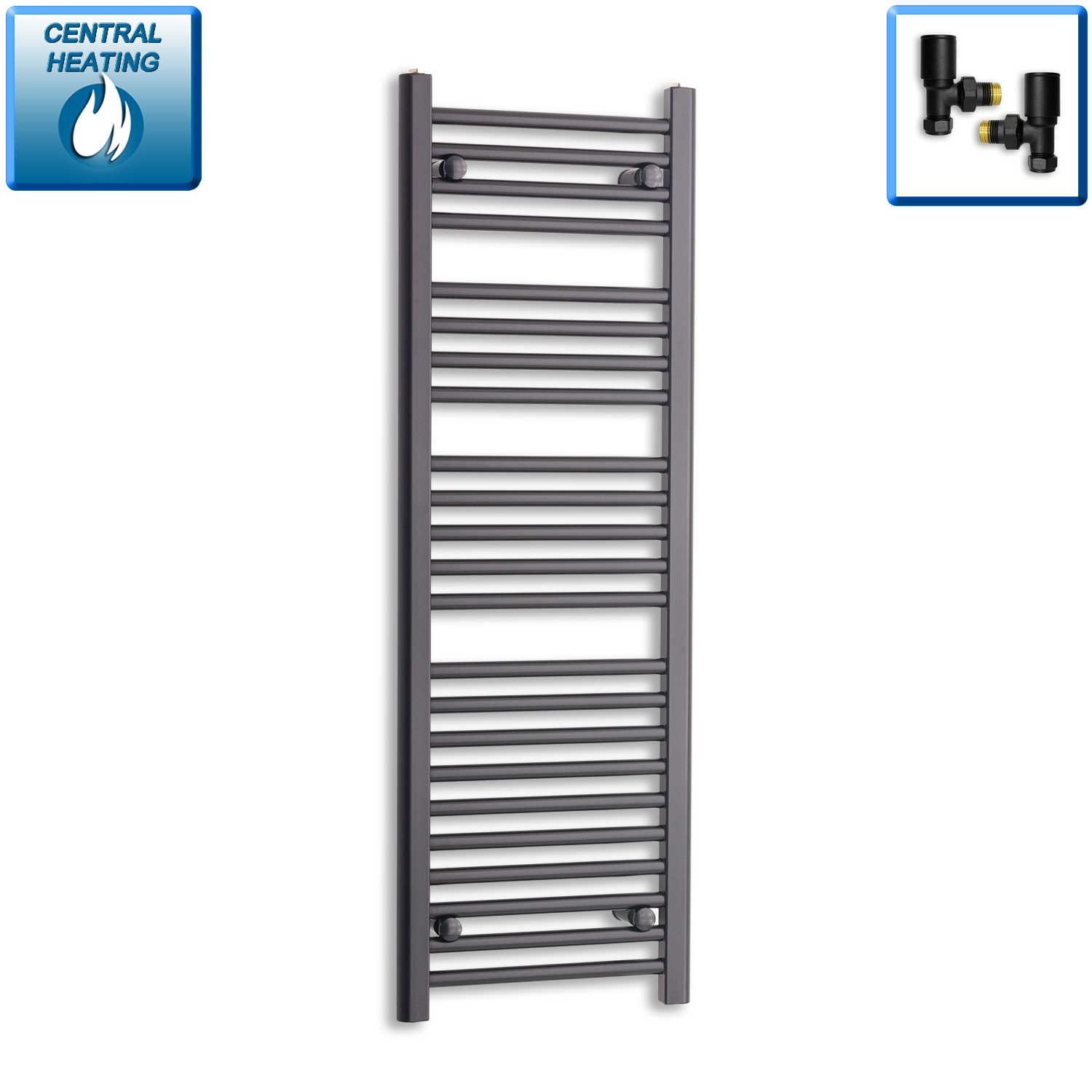 400mm Wide 1200mm High Black Towel Rail Radiator With Angled Valve