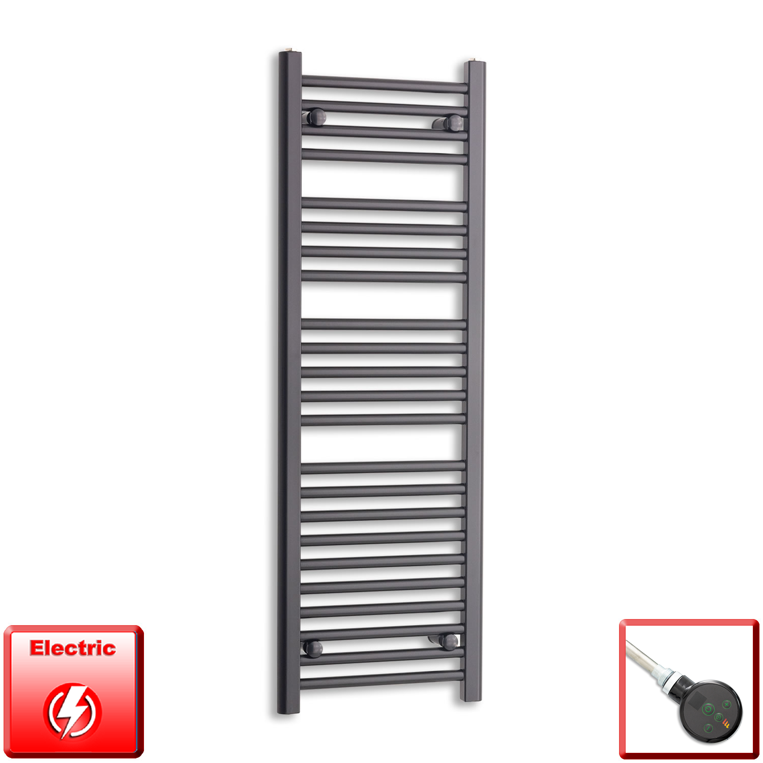 400mm Wide 1200mm High Pre-Filled Black Electric Towel Rail Radiator With Thermostatic DIGI Element