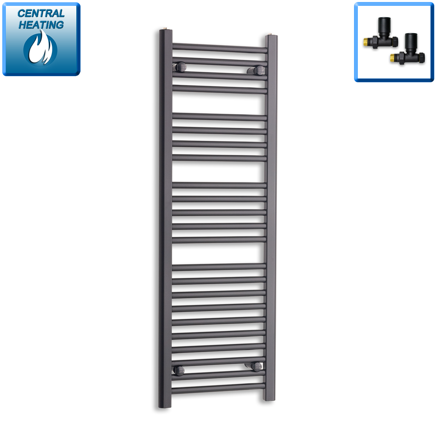 400mm Wide 1200mm High Black Towel Rail Radiator With Straight Valve