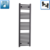400mm Wide 1400mm High Black Towel Rail Radiator With Angled Valve
