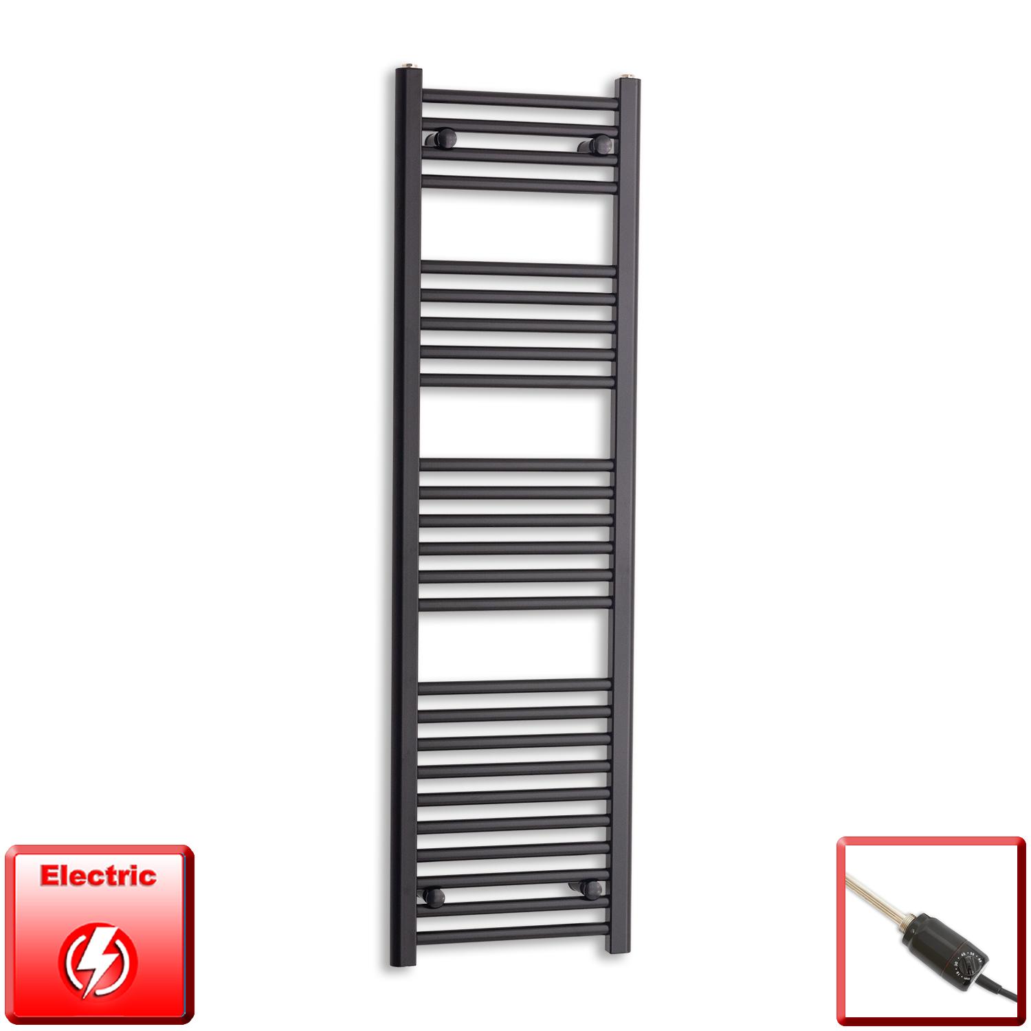 400mm Wide 1400mm High Pre-Filled Black Electric Towel Rail Radiator With Thermostatic GT Element