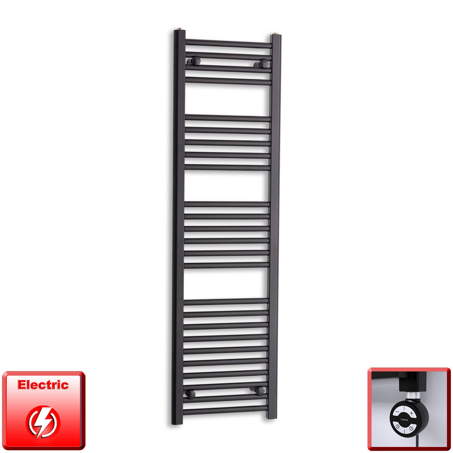 400mm Wide 1400mm High Pre-Filled Black Electric Towel Rail Radiator With Thermostatic MOA Element