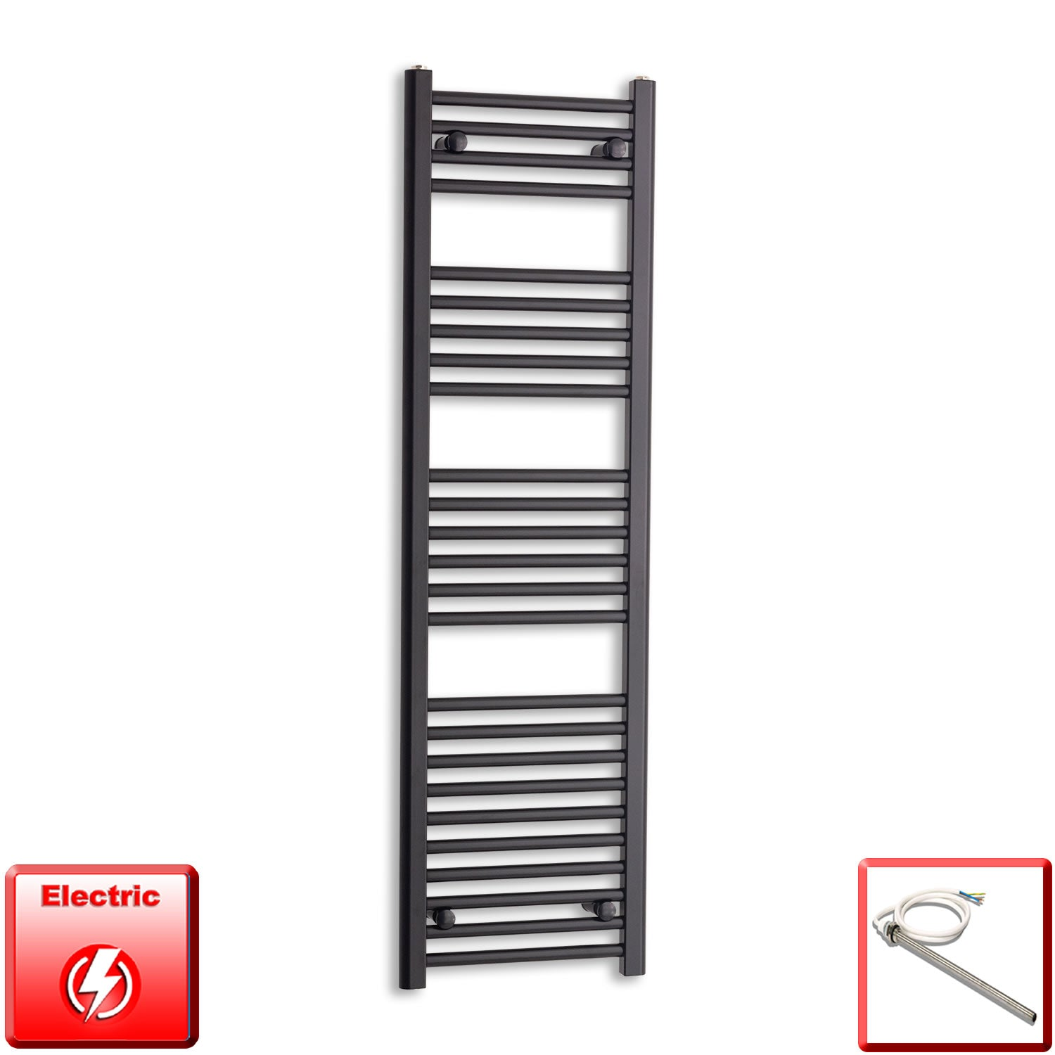 400mm Wide 1400mm High Pre-Filled Black Electric Towel Rail Radiator With Single Heat Element