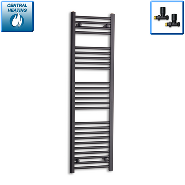 400mm Wide 1400mm High Black Towel Rail Radiator With Straight Valve