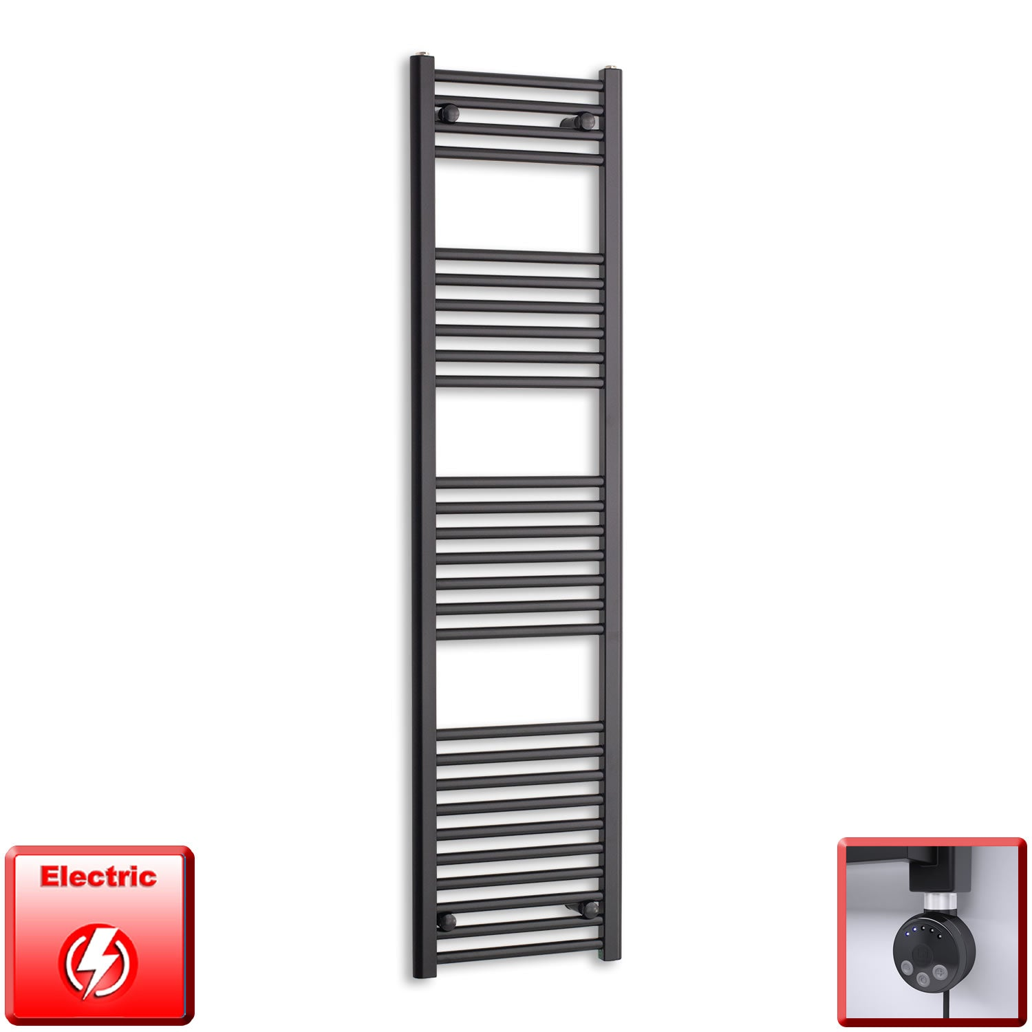 400mm Wide 1600mm High Pre-Filled Black Electric Towel Rail Radiator With Thermostatic MEG Element