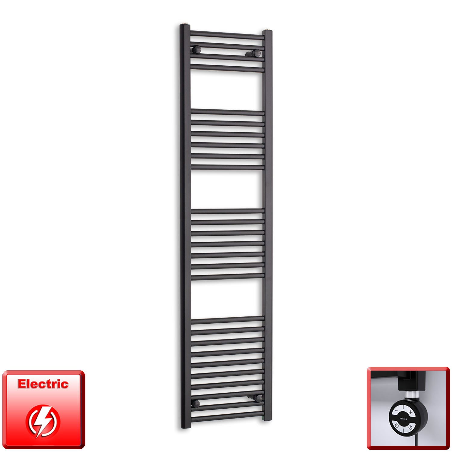 400mm Wide 1600mm High Pre-Filled Black Electric Towel Rail Radiator With Thermostatic MOA Element
