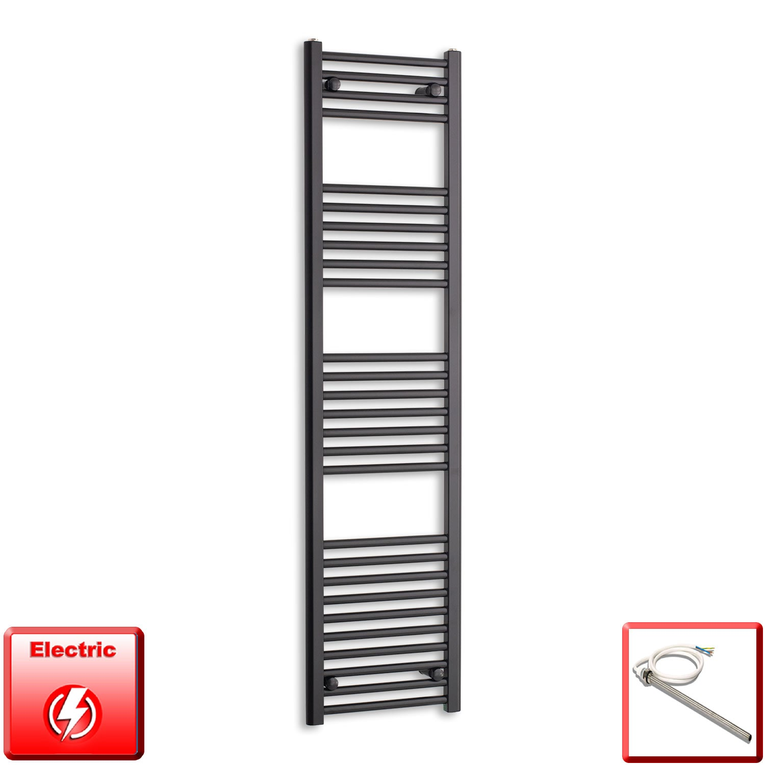 400mm Wide 1600mm High Pre-Filled Black Electric Towel Rail Radiator With Single Heat Element