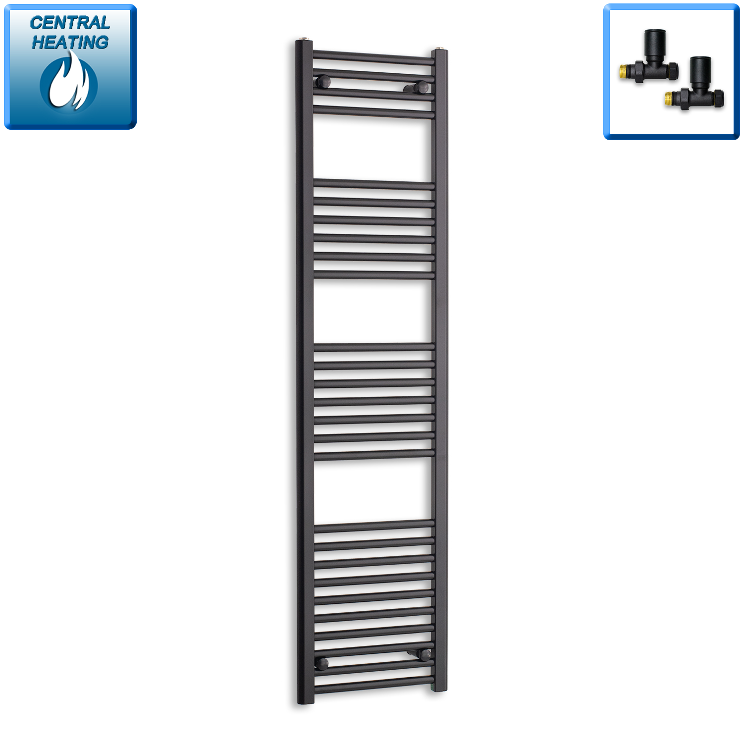 400mm Wide 1600mm High Black Towel Rail Radiator With Straight Valve