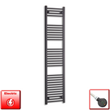 400mm Wide 1800mm High Pre-Filled Black Electric Towel Rail Radiator With Thermostatic DIGI Element