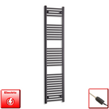 400mm Wide 1800mm High Pre-Filled Black Electric Towel Rail Radiator With Thermostatic GT Element