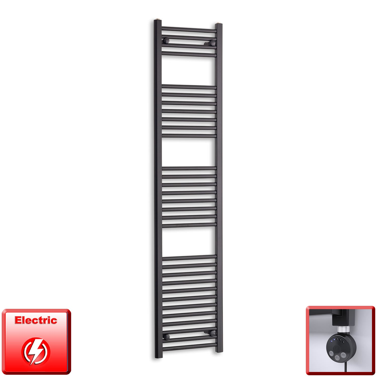 400mm Wide 1800mm High Pre-Filled Black Electric Towel Rail Radiator With Thermostatic MEG Element