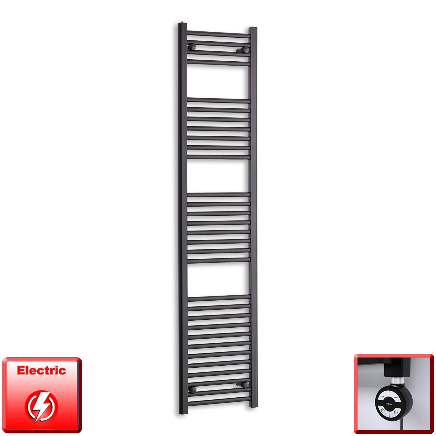 400mm Wide 1800mm High Pre-Filled Black Electric Towel Rail Radiator With Thermostatic MOA Element