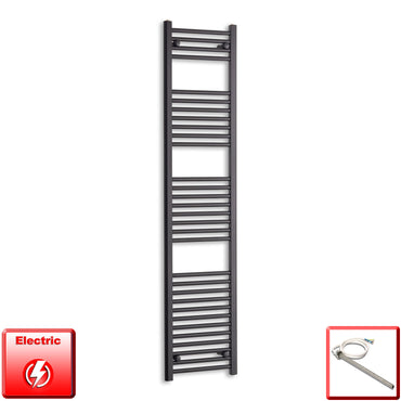 400mm Wide 1800mm High Pre-Filled Black Electric Towel Rail Radiator With Single Heat Element