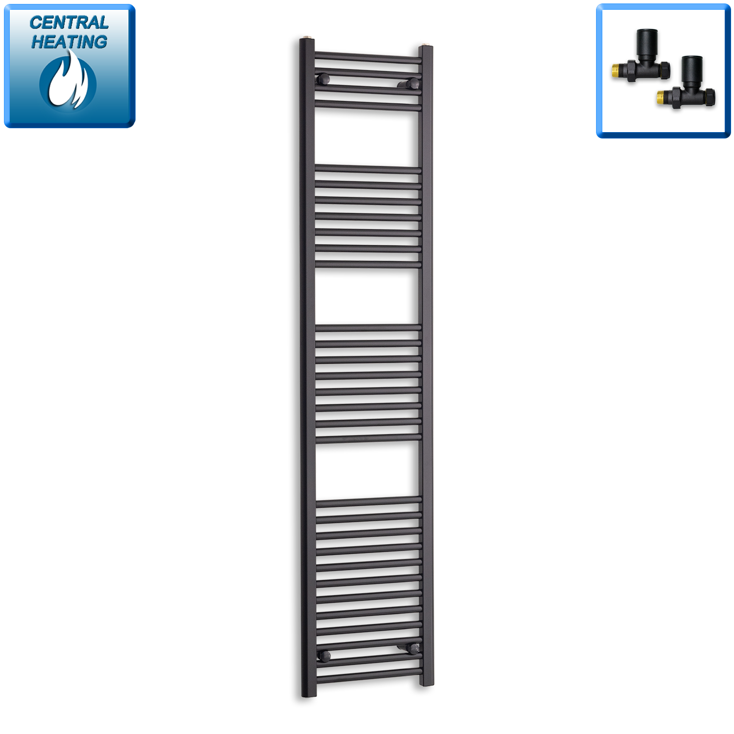 400mm Wide 1800mm High Black Towel Rail Radiator With Straight Valve