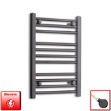 400mm Wide 600mm High Pre-Filled Black Electric Towel Rail Radiator With Thermostatic DIGI Element