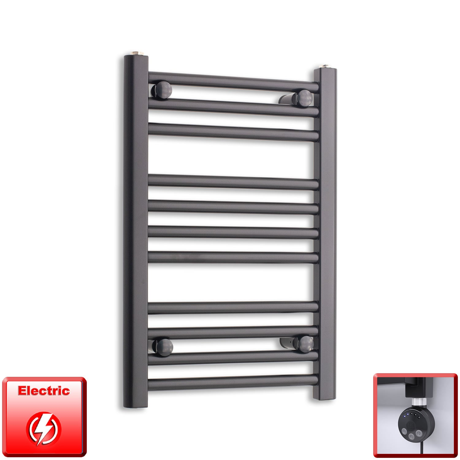 600mm High 400mm Wide Flat Black Pre-Filled Electric Heated Towel Rail Radiator HTR