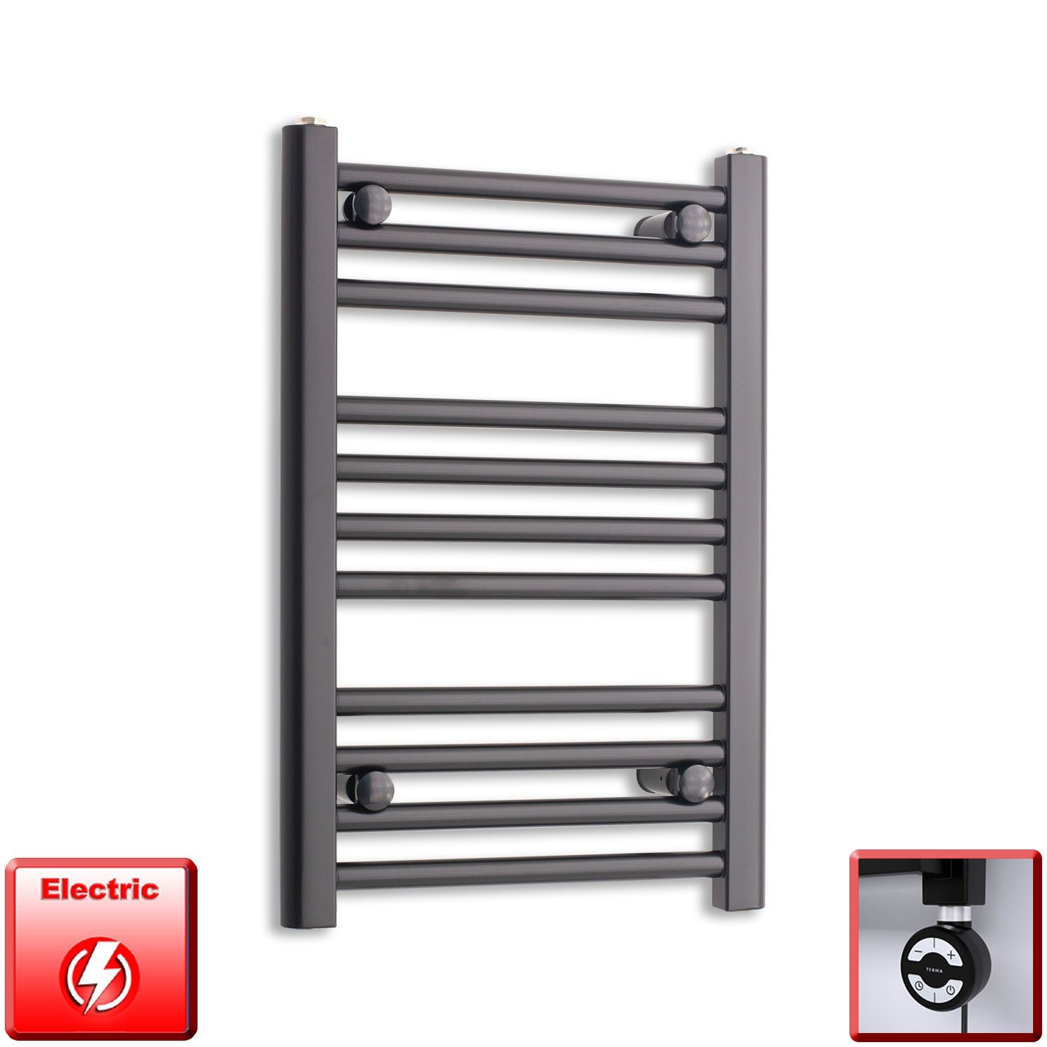 400mm Wide 600mm High Pre-Filled Black Electric Towel Rail Radiator With Thermostatic MOA Element