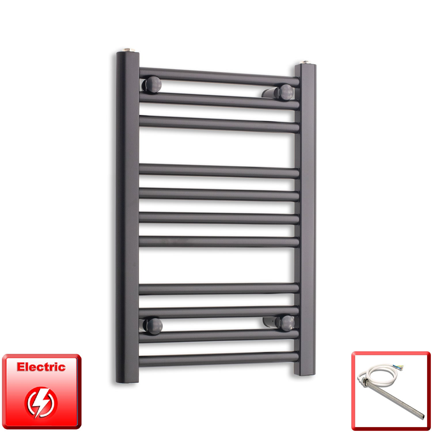 400mm Wide 600mm High Pre-Filled Black Electric Towel Rail Radiator With Single Heat Element