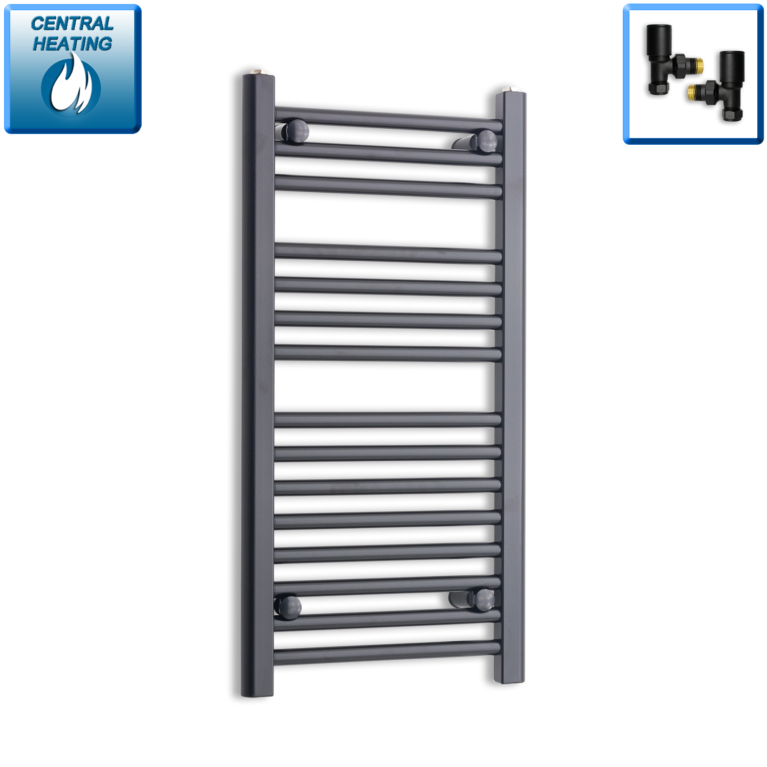 400mm Wide 800mm High Black Towel Rail Radiator With Angled Valve