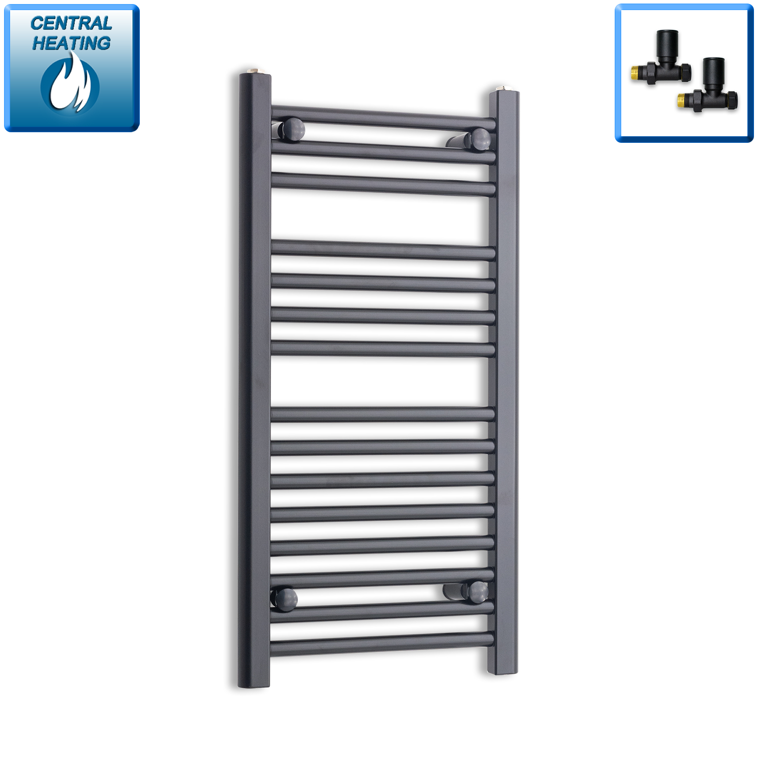 400mm Wide 800mm High Black Towel Rail Radiator With Straight Valve